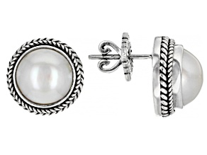 White Cultured Mabe Pearl Silver Stud Earrings