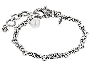 White Cultured Freshwater Pearl Silver Bracelet