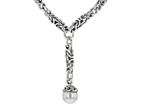 White Cultured Freshwater Pearl Silver Necklace