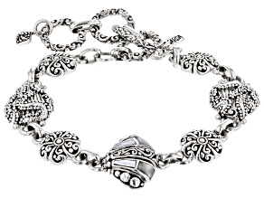 White Inlay Mother-of-Pearl Silver Clam Shell Bracelet