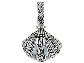 White Inlay Mother-of-Pearl Silver Clam Shell Enhancer Pendant