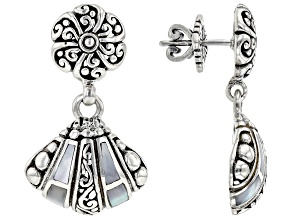 White Inlay Mother-of-Pearl Silver Clam Shell Earrings