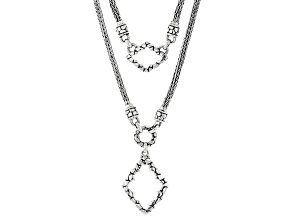 """Silver """"Keep Your Promises"""" Watermark & Hammered Necklace"""