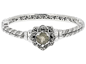 White Moonstone Silver Bangle Bracelet