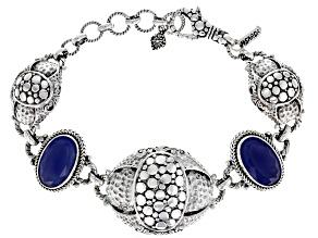 Blue Onyx Silver Station Bracelet 10.58ctw
