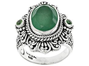 Green Quartz & Tsavorite Silver Ring 4.93ctw
