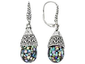 Mosaic Abalone Shell Silver Earrings