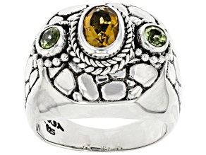 Yellow Citrine and Peridot Silver Ring .90ctw