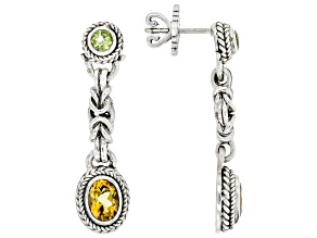 Yellow Citrine and Peridot Silver Earrings 1.50ctw