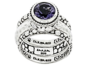 Blueberry Quartz Silver Stackable Set of 3 Rings 1.49ct