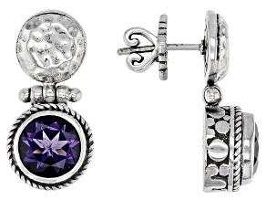 Blueberry Quartz Silver Earrings 2.98ctw
