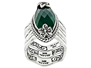 Green Onyx Silver Stackable Set of 3 Rings