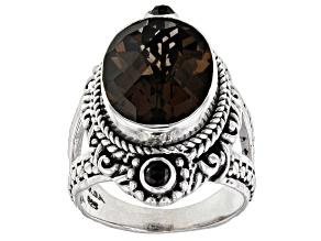 Brown Smoky Quartz & Black Spinel Silver Ring 7.81ct
