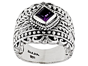 Purple African Amethyst Silver Ring .48ct