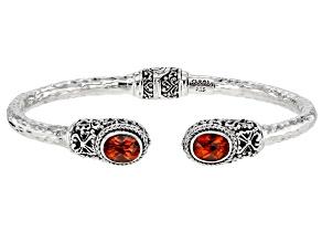 Lab Created Sapphire Silver Bracelet 3.26ctw