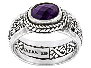 Purple African Amethyst Silver Ring .94ct