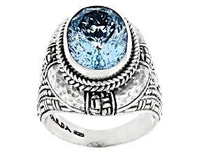 Blue Topaz Sterling Silver Ring 6.33ct