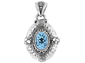 Blue Topaz Sterling Silver Pendant 6.33ct