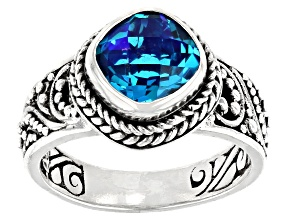 Rainbow Paraiba Color Quartz Triplet Silver Ring 1.91ct
