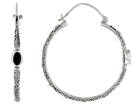 Black Spinel Sterling Silver Hoop Earrings 1 10ctw Sra516 Jtv Com