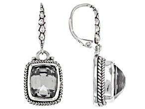 Platinum Quartz Triplet Silver Earrings 10.50ctw