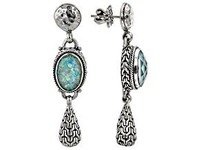 Sea-renity Lab Created Opal Quartz Doublet Silver Earrings