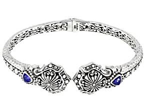 Blue Tanzanite Silver Bangle Bracelet .82ctw