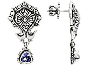 Blue Tanzanite Silver Earrings .82ctw