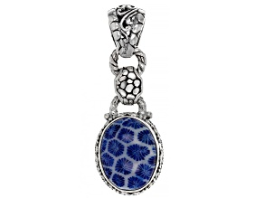 Navy Blue Indonesian Coral Silver Pendant