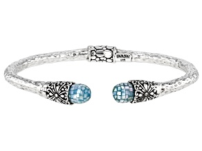 Aqua Mosaic Mother-of-Pearl Silver Bracelet