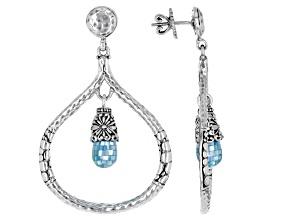 Aqua Mosaic Mother-of-Pearl Silver Earrings