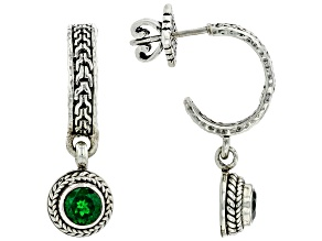 Green Chrome Diopside Silver Earrings 0.86ctw