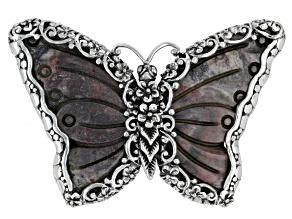 Multi-Color Porcelain Jasper Silver Butterfly Pendant/Pin
