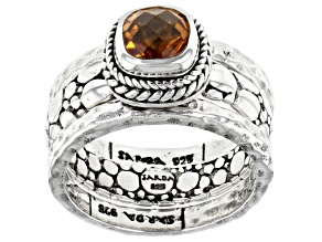 Golden Citrine Silver Set of Three Rings .98ct