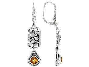 Golden Citrine Sterling Silver Earrings 1.96ctw