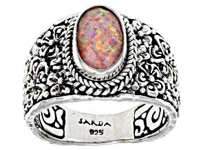 Salmon Pink Opal Quartz Doublet Silver Ring