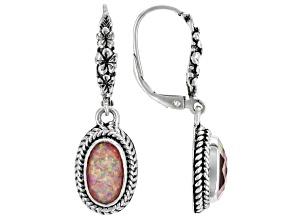 Salmon Pink Opal Quartz Doublet Silver Earrings