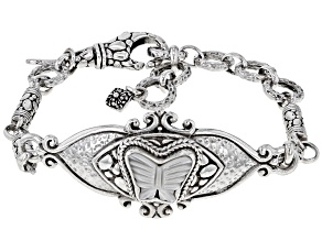 White Carved Mother-of-Pearl Silver Butterfly Bracelet