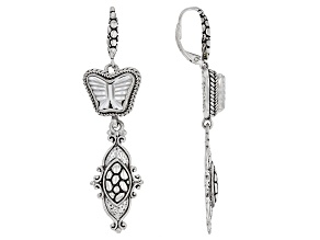 White Carved Mother-of-Pearl Silver Butterfly Earrings
