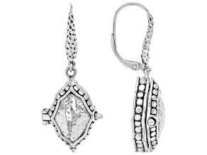 """Silver """"Fortress & Refuge"""" Locket Earrings"""