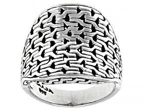Sterling Silver Chainlink Dome Ring