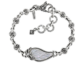 Carved Mother-of-Pearl Silver Wings Bracelet