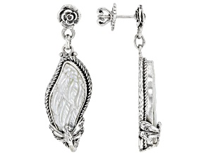 Carved Mother-of-Pearl Silver Wings Earrings