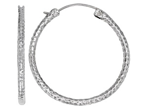 40mm Sterling Silver Hammered Hoop Earrings