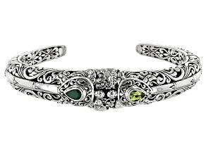 Green Emerald Sterling Silver Bracelet 1.00ctw