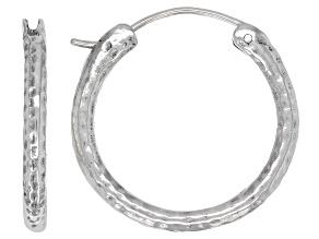 25mm Sterling Silver Hammered Hoop Earrings