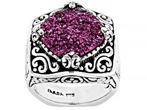 Pink Charmer™ Drusy Quartz Silver Ring