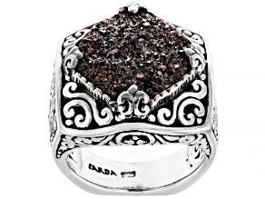 Southwest Chili™ Drusy Quartz Silver Ring