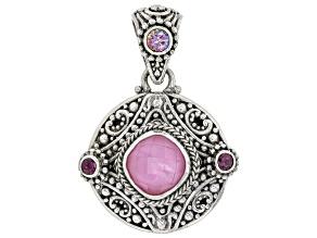 Pink Quartz Doublet & Quartz & Rhodolite Silver Pendant .66ctw