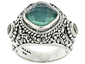 Green Onyx Quartz Doublet, Peridot Silver Ring .46ctw